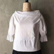 1940~50's Drawstring Collar Cotton Blouse(1940〜50年代 ドローストリングカラー コットンブラウス)