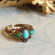 1970's 9K/Turquoise/Ruby Ring(1970年代 9K/ターコイズ/ルビー リング)