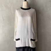 Vintage Black&White Silk Blouse(ヴィンテージ モノトーン シルクブラウス)