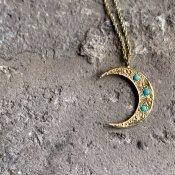 【期間限定販売】momocreatura Crescent Moon Necklace 9KYG×Turquoise(三日月 ネックレス 9K金無垢×ターコイズ)