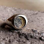 【期間限定販売】momocreatura Moon Signet Ring(月シグネットリング ゴールド×燻しシルバー)