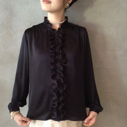 Vintage Satin Frill Shirt / Black (フリルブラウス)