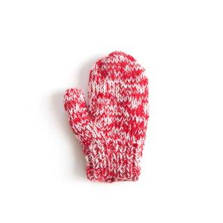 フェアトレード/手袋 ミトンタイプ / レッド&ホワイト