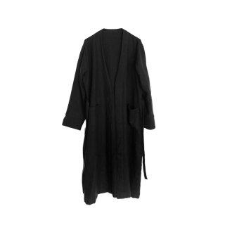 【ご予約商品】jiji /ラミーリネンウールの羽織 / ロングタイプ / BLACK