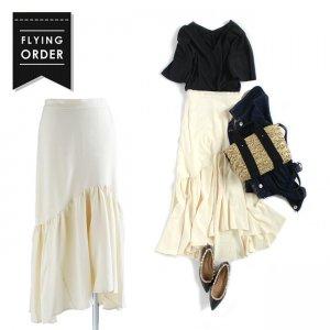 【SALE】【ゆうパケ】ジョーゼットアシンメトリーギャザースカート(アイボリー)
