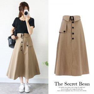 【ゆうパケ】2color◆ベルト付きトレンチ風フレアスカート