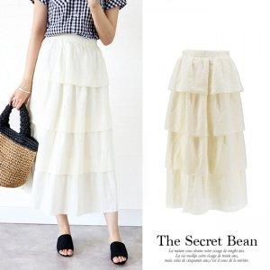 【SALE】【ゆうパケ】コットン素材ティアードマキシスカート(オフホワイト)