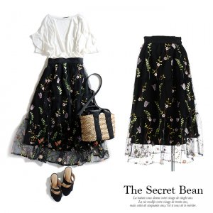 【ゆうパケ】チュール花柄刺繍ティアードスカート