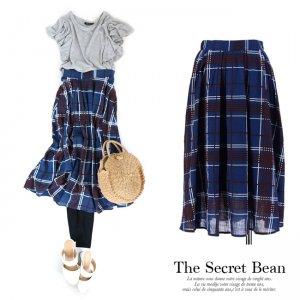 【SALE】【ゆうパケ】マルチチェック柄タックフレアスカート