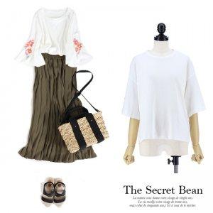 【SALE】【ゆうパケ】花柄刺繍オーガニックコットンフレアスリーブTシャツ