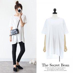 【SALE】【ゆうパケ】オーバーサイズ無地ロング丈Tシャツ(ホワイト)