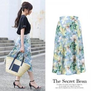 【SALE】【ゆうパケ】水彩花柄フレアスカート