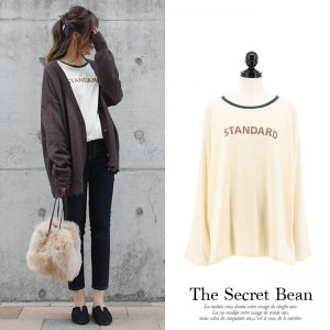 【数量限定】【ゆうパケ】くったり生地こなれ配色ロゴTシャツ(オフホワイト)