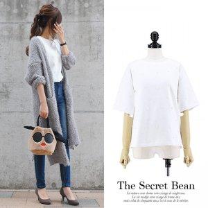 【ゆうパケ】パールデザイン5分袖Tシャツ