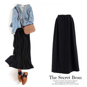 【ゆうパケ】暖か裏シャギーフレアロングスカート(ブラック)