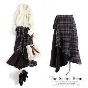 【ゆうパケ】サイドリボンチェック柄ラップスカート(ブラウン)
