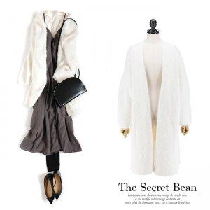 【新春特別価格】厚手たっぽりオーバーサイズシャギーニットコート(ホワイト)