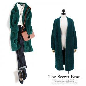 厚手たっぽりオーバーサイズシャギーニットコート(グリーン)