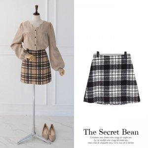 【ゆうパケ】2color◆シャギーチェック台形スカート
