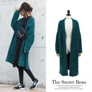 【新春特別価格】厚手たっぽりオーバーサイズシャギーニットコート(グリーン)