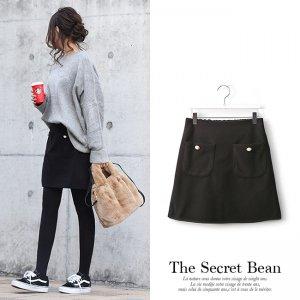 【ゆうパケ】フロントポケットパールボタン付きミニスカート