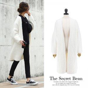 【SALE】厚手たっぽりオーバーサイズシャギーニットコート(ホワイト)