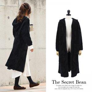 【SALE】厚手たっぽりオーバーサイズシャギーフーディニットコート(ブラック)