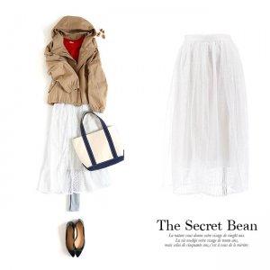 【SALE】【ゆうパケ】ドットチュールレース切替ロングスカート(ホワイト)