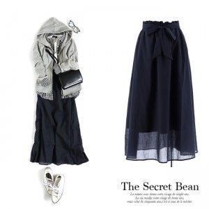 【ゆうパケ】サッシュベルト付きボイルロングスカート(ネイビー)