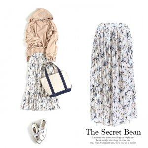 【SALE】【ゆうパケ】花柄プリーツIラインミモレ丈スカート
