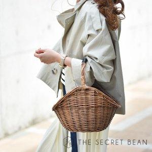 柳素材ワンハンドルバスケットデザインカゴバッグ