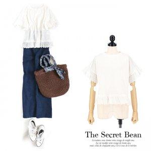 【春夏新作】【ゆうパケ】天竺コットンレース裾フリル半袖Tシャツ(ホワイト)