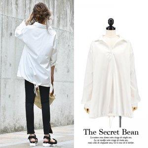 【ゆうパケ】オーバーサイズ裾ドローストリングスキッパーシャツ(ホワイト)