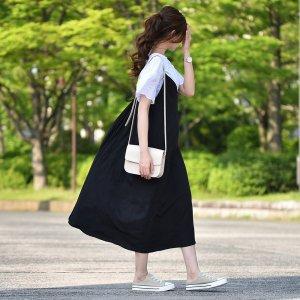 【ゆうパケ】バックリボンキャミワンピース(ブラック)