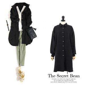【ゆうパケ】パールボタンオーバーサイズロングシャツ(ブラック)