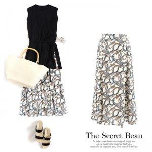 【SALE先行価格】【ゆうパケ】ポプリンスカーフ柄ロングフレアスカート