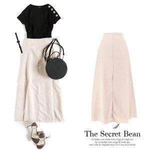 【SALE先行価格】【ゆうパケ】リネンライク裾フリンジAラインロングスカート(ライトベージュ)