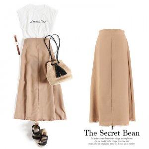 【SALE先行価格】【ゆうパケ】リネンライク裾フリンジAラインロングスカート(ベージュ)