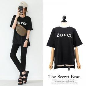 【ゆうパケ】covetロゴゆるTシャツ(ブラック)