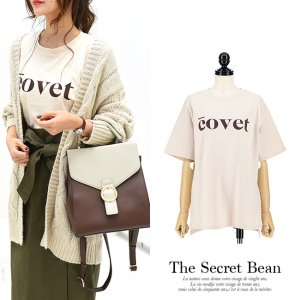 【9月23日まで限定価格】【ゆうパケ】covetロゴゆるTシャツ(ベージュ)