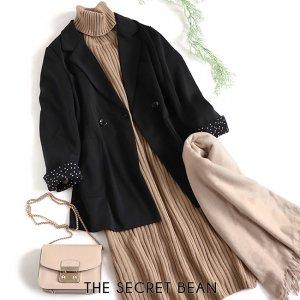 【予約】【秋物新作】袖折り返しデザイン裏地ドット柄テーラードジャケット