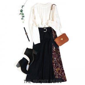 【予約】【ゆうパケ】ベルト付きスカーフ柄サイドプリーツ切替スカート