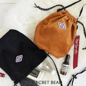 【ゆうパケ】2color◆コーデュロイ巾着ショルダーバッグ