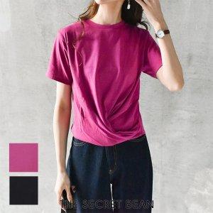 【ゆうパケ】2color◆二重地天竺フロントツイストTシャツ