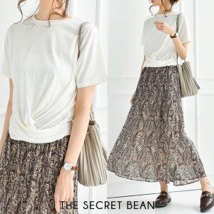 【ゆうパケ】二重地天竺フロントツイストTシャツ(ホワイト)