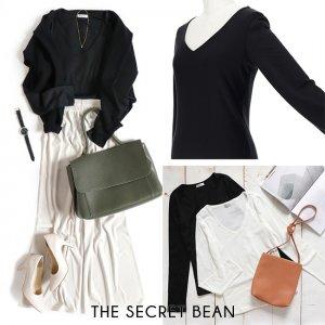 【ゆうパケ】前身ごろが透けないVネックベーシックTシャツ(ブラック)