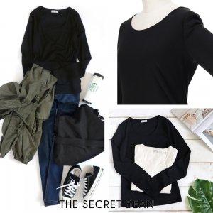 【ゆうパケ】前身ごろが透けないUネックベーシックTシャツ(ブラック)