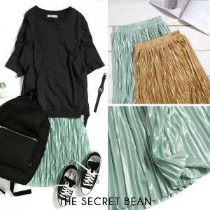 【ゆうパケ】2color◆サテンシアープリーツスカート