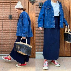 【ゆうパケ】2color◆2size◆ワイドテレコスカート