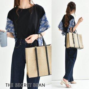 【SALE】【ゆうパケ】ペイズリースカーフ柄切替ラッフルスリーブTシャツ(ブラック)